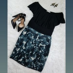 Ann Taylor Green Ruffle Silk Mini Skirt Size 6P